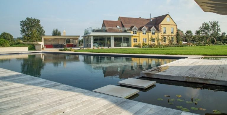 Outdoor natural swimming pools