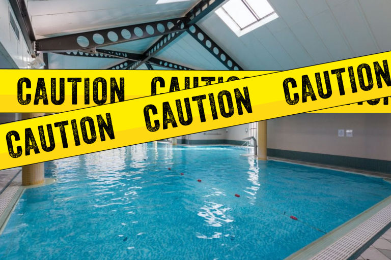 caution swimming pool